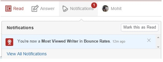 use quora to promote your blog - Most Viewed Writer Quora Badge