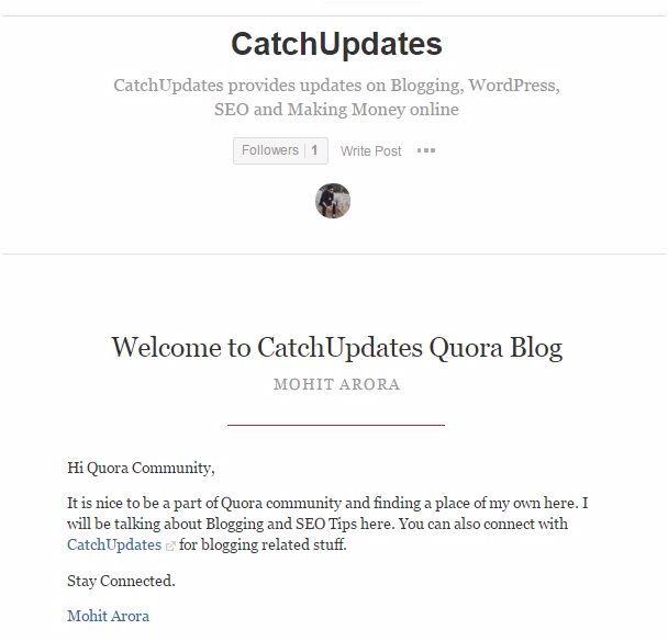 use quora to promote your website -My Quora Blog